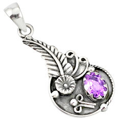 2.23cts natural purple amethyst 925 sterling silver flower pendant r77825