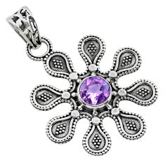 1.10cts natural purple amethyst 925 sterling silver flower pendant t30151