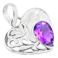 2.78cts natural purple amethyst 925 sterling silver heart pendant jewelry d45696
