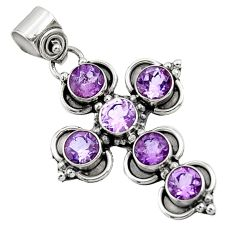 5.63cts natural purple amethyst 925 sterling silver holy cross pendant d44771