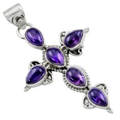 9.42cts natural purple amethyst 925 sterling silver holy cross pendant r47970