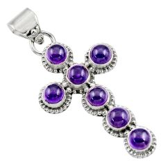 6.45cts natural purple amethyst 925 sterling silver holy cross pendant r48002