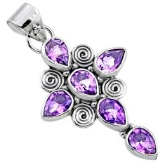 8.78cts natural purple amethyst 925 sterling silver holy cross pendant r55812