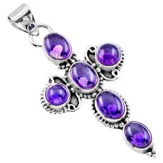 9.72cts natural purple amethyst 925 sterling silver holy cross pendant r55821