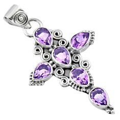 6.31cts natural purple amethyst 925 sterling silver holy cross pendant r55968