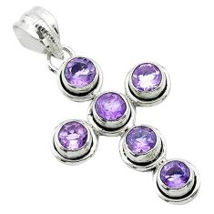 5.63cts natural purple amethyst 925 sterling silver holy cross pendant t52957