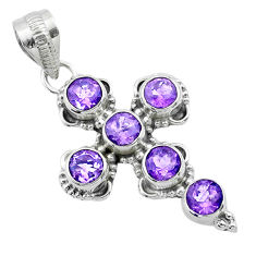 5.38cts natural purple amethyst 925 sterling silver holy cross pendant t52961