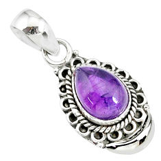 2.44cts natural purple amethyst 925 sterling silver moon pendant jewelry r89404