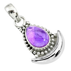 2.58cts natural purple amethyst 925 sterling silver moon pendant jewelry r89433