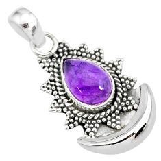 2.62cts natural purple amethyst 925 sterling silver moon pendant jewelry r89467