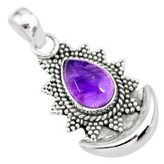 2.54cts natural purple amethyst 925 sterling silver moon pendant jewelry r89487
