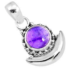 3.07cts natural purple amethyst 925 sterling silver moon pendant jewelry r89548