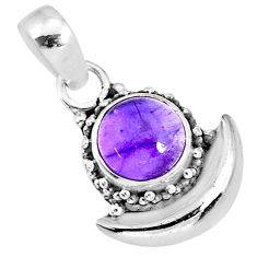 2.94cts natural purple amethyst 925 sterling silver moon pendant jewelry r89551