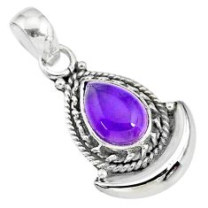 2.48cts natural purple amethyst 925 sterling silver moon pendant jewelry r89592