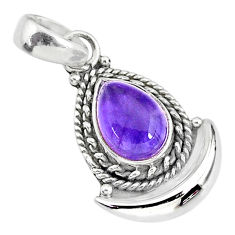 2.75cts natural purple amethyst 925 sterling silver moon pendant jewelry r89612