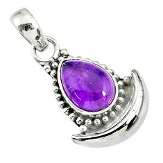 2.62cts natural purple amethyst 925 sterling silver moon pendant r89444