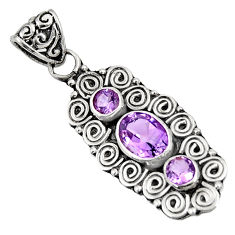 Clearance Sale- 3.14cts natural purple amethyst 925 sterling silver pendant jewelry d39262