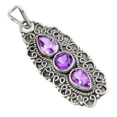Clearance Sale- 3.85cts natural purple amethyst 925 sterling silver pendant jewelry d39266
