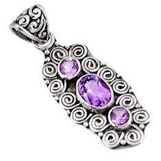 3.83cts natural purple amethyst 925 sterling silver pendant jewelry d39282