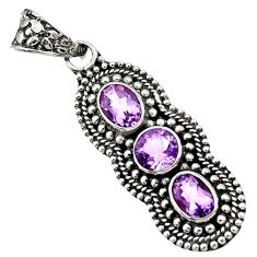 Clearance Sale- 4.21cts natural purple amethyst 925 sterling silver pendant jewelry d44801