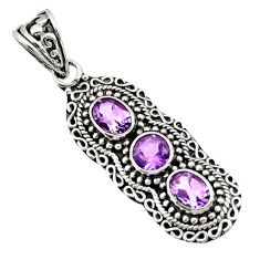 4.38cts natural purple amethyst 925 sterling silver pendant jewelry d44805