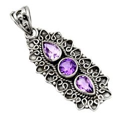 Clearance Sale- 4.22cts natural purple amethyst 925 sterling silver pendant jewelry d44807