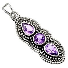 Clearance Sale- 4.65cts natural purple amethyst 925 sterling silver pendant jewelry d44810