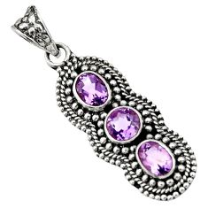 Clearance Sale- 4.68cts natural purple amethyst 925 sterling silver pendant jewelry d44817
