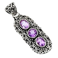 Clearance Sale- 4.38cts natural purple amethyst 925 sterling silver pendant jewelry d44820