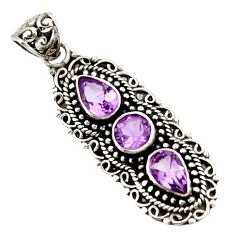 5.75cts natural purple amethyst 925 sterling silver pendant jewelry d44835