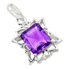 5.23cts natural purple amethyst 925 sterling silver pendant jewelry d45628