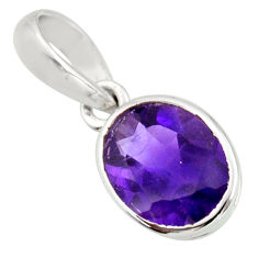 3.19cts natural purple amethyst 925 sterling silver pendant jewelry r27406