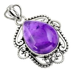 11.70cts natural purple amethyst 925 sterling silver pendant jewelry r32323