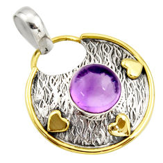 4.69cts natural purple amethyst 925 sterling silver pendant jewelry r37148