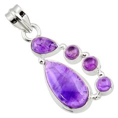 10.57cts natural purple amethyst 925 sterling silver pendant jewelry r43121