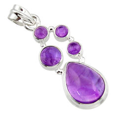 11.95cts natural purple amethyst 925 sterling silver pendant jewelry r43122