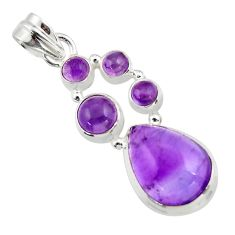 12.24cts natural purple amethyst 925 sterling silver pendant jewelry r43123