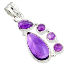 10.24cts natural purple amethyst 925 sterling silver pendant jewelry r43128