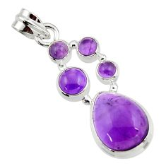 11.32cts natural purple amethyst 925 sterling silver pendant jewelry r43131