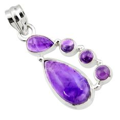 10.94cts natural purple amethyst 925 sterling silver pendant jewelry r43132