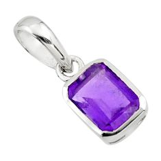 1.96cts natural purple amethyst 925 sterling silver pendant jewelry r43495