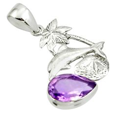 5.40cts natural purple amethyst 925 sterling silver pendant jewelry r44161