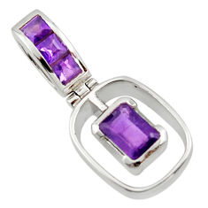 2.69cts natural purple amethyst 925 sterling silver pendant jewelry r45478