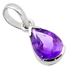 2.50cts natural purple amethyst 925 sterling silver pendant jewelry r45609