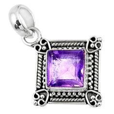 3.51cts natural purple amethyst 925 sterling silver pendant jewelry r57641