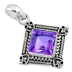 3.51cts natural purple amethyst 925 sterling silver pendant jewelry r57642