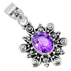 2.09cts natural purple amethyst 925 sterling silver pendant jewelry r57643