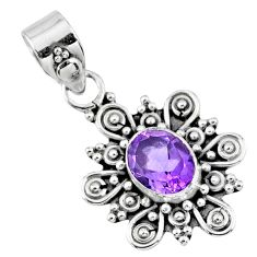 3.32cts natural purple amethyst 925 sterling silver pendant jewelry r57661