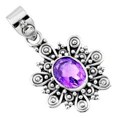 3.12cts natural purple amethyst 925 sterling silver pendant jewelry r57662