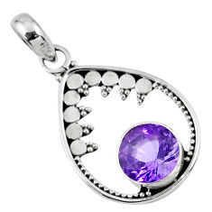 3.03cts natural purple amethyst 925 sterling silver pendant jewelry r57681
